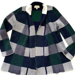 Modcloth Green and Blue Plaid Cardigan Duster